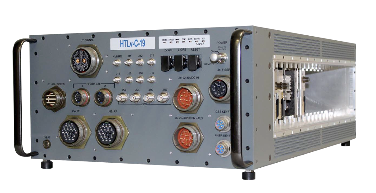 Front panel view of hybrid High Performance Embedded Compute (HPEC) Chassis from HTL which can be configured with the VPX3U-RTX5000-SWITCH from WOLF
